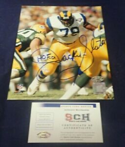 Jackie Slater Signed Rams 8X10 Color Photo W/ HOF 01 SCH Authentic