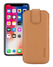 """IPHONE XS (5.8 """") Leather Cover Case Cover in Antique Camel + Silicone Case"""