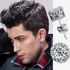 Men's- Youth's- Boys: Silver Plated 6mm Crystal Diamante Sleeper/Stud Earrings