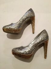 Rampage Tangela Women's Sparkly Gold Silver Glitter Pumps Heels Shoes 7 Euc