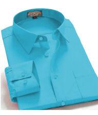 Men's Regular Fit Long Sleeve Solid Color One Pocket Dress Shirt In Turquoise