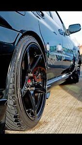 "18"" 5x100 BLACK ALLOY WHEELS WITH TYRES VW SUBARU AUDI ETC"