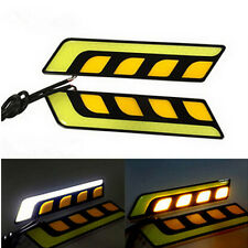 Dual Color White Amber Car LED DRL COB Daytime Running Light with Turn Signal