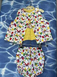 Kids Girls Party Outfit Smock Top Bloomers Beach Summer Birthday Fancy Dress 2y