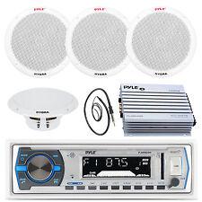 "Black 6.5"" Marine Speakers, Pyle 200W USB AM FM Radio, 400W Amplifier, Antenna"