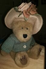 1998 Boyds Mrs Trumbull Bear Multi Color Sweater and Floral Hat