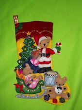 "Bucilla ""Teddy Collection"" Handmade Felt Applique🎄 Christmas Stocking ~Complete"