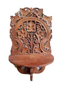 Vintage Wood Carved Leaf Ornate Wall Shelf INDIA