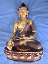 Antique Gilded Bronze Medicine Buddha  Statue Sitting with Herbs. Sangye Menla.