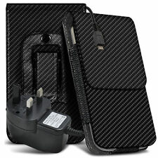 Carbon Fibre Belt Pouch Holster Case & Mains Charger For Samsung Galaxy S4 Mini