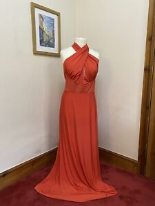Issa Annabelle Coral Maxi Evening Dress With Crossover Bodice Size 14 BNWT