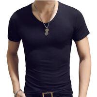 Summer Men's T Shirt Slim Fit V Neck Muscle Short Sleeve Plain Cotton Gym Tops