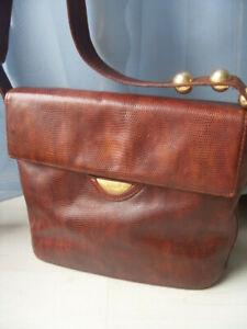 Handtasche, Medici, Schlangenleder Prägung, braun, echt Leder, mittelgroß