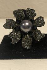 Vintage Ring Stretch Band Black Rhinestones Gray Pearl