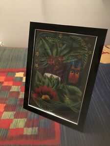Laurel Burch Handcrafted Jungle Scene With Lion Picture In a Black Frame