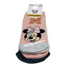 Disney Minnie Mouse Shoe Liners 3 Pairs Ladies Trainer Socks UK 4-8 Primark