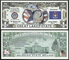 Lot of 100 Bills- Michigan State Million Dollar Bill w Map, Seal, Flag, Capitol