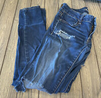 American Eagle Womens Super Stretch Blue Denim Distressed Jegging Size 2
