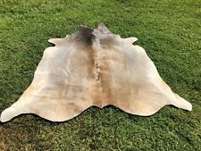 Small Cowhide Rug Gray Cow Hide Print Hair on Skin Leather Area Rug 4.5 x 4.5 ft