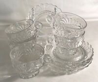 5 Cambridge Crystal Caprice Cups And Saucers