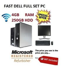 """Cheap Dell Full Computer System with 19"""" Monitor 4GB RAM 250GB HHDD WiN10  Wifi"""