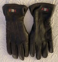 Quality Women's Cashmere Lined Red Deerskin Leather Gloves ~ made in ITALY (Lg.)