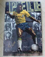 Soccer Pele original numbered Ed giclée print painting on canvas Stephen Holland
