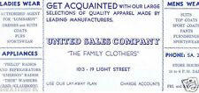 """United Sales Company"" Family Clothiers 1940's Ink Blotter - Baltimore, Md."
