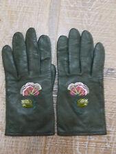 RARE GANTS KENZO GLOVES CUIR VERT green leather JAPON FLEURS FLOWERS SUPERBES TB