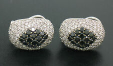 18k Solid White Gold 3.60ctw White & Black Diamond Drenched Dome Button Earrings