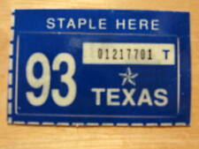 1993 TEXAS PLATE RENEWAL STICKER FOR PASSENGER CAR