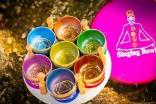 7 chakra set of singing bowl for meditation, yoga, sound healing, decoration.