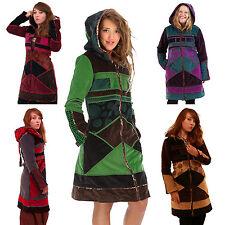 Velvet Patchwork Mandala Coat, Braided Hippy Winter Boho Psy Trance Coat