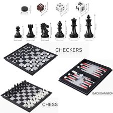 Magnetic 3 in 1 Folding Chessman Set Checkers Draughts Backgammon Toys Set Gift