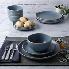 DINNERWARE SET 12-Piece Service for 4 Round Matte Blue Stoneware