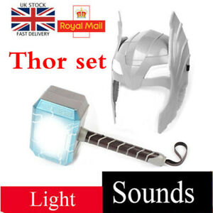 Thor Hammer Helmet Mask LED Glowing and Sounds Cosplay Model Kids Toys Gifts UK