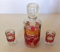 Vintage Fortified Wine Decanter Carafe with 2 Wine Shot Glasses