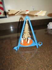 Original wooden blue German Christmas Angel Carousel with fan and candles As Is