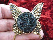 cs54-7) Cherub garden black mourning Cameo butterfly Pin Pendant Jewelry brooch