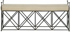 """61"""" L Marshall Bench Industrial Metal with X Detail Base Linen Cushion"""