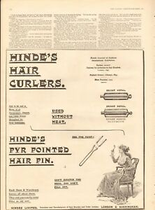 1894  ANTIQUE PRINT- ADVERT-HINDE'S HAIR CURLERS, PYR POINTED HAIR PIN