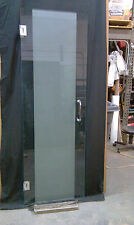 "Frameless Sand Etched Door 24""-28 With Vertical Band. 3/8 GLASS,/HARDWARE COMBO"
