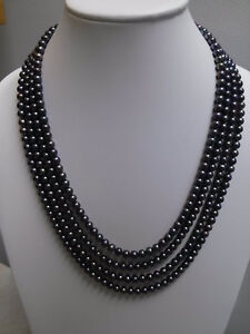Beautiful 100Inch Natural Black Freshwater Pearl Long Necklace 6-7mm