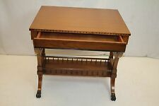 Regency Style Cherry Side End Table with One Drawer Magazine Rack