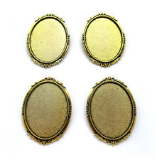 4 Antiqued Goldtone ROMANTIC Style 40mm x 30mm CAMEO Pin Brooch Frames Settings