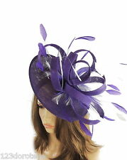 Large Royal Purple & White Fascinator for Ascot, Weddings, Proms, Derby M4