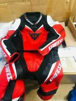 Motorbike leather suit racing suit leather gear riding suit red & black leather