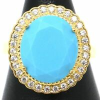 Large Blue Turquoise Moissanite Halo Ring Women Birthday Jewelry Size 6 7 8 9