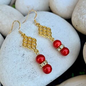 Shiny Red/ 18K Gold Dangle Earrings With Crystal Rhinestones Valentines Day Gift