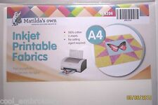 Inkjet Printable Fabric A4x5 sheets Matilda's Own